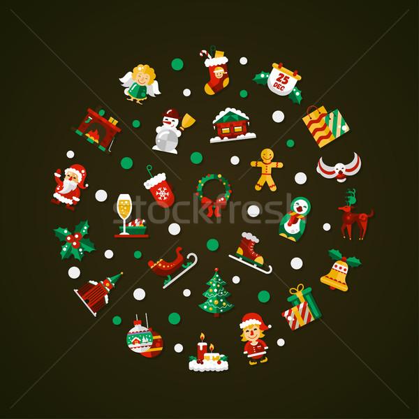 Stockfoto: Ingesteld · christmas · gelukkig · nieuwjaar · ontwerp · vector
