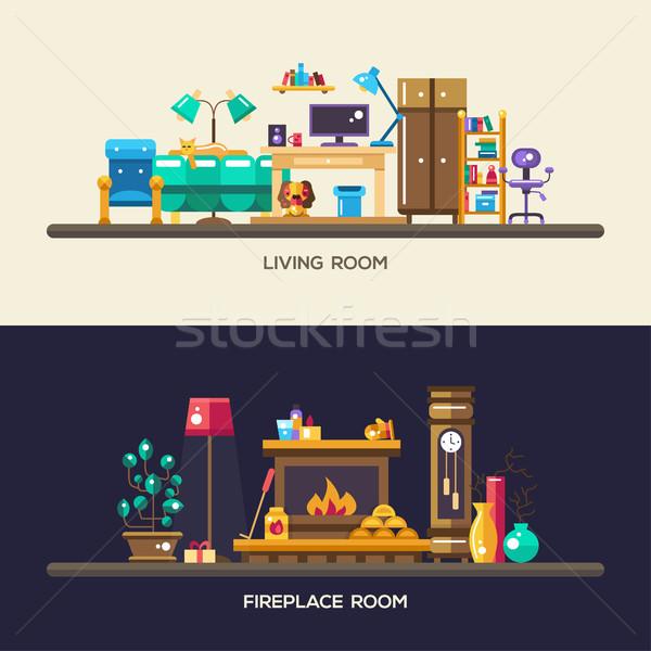 デザイン ホーム インテリア バナー セット ベクトル ストックフォト © Decorwithme