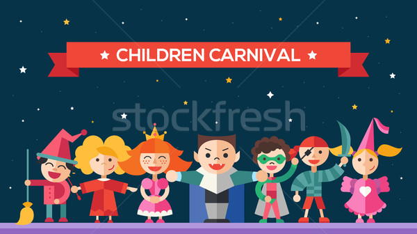 Children carnival - flat design characters website banner Stock photo © Decorwithme