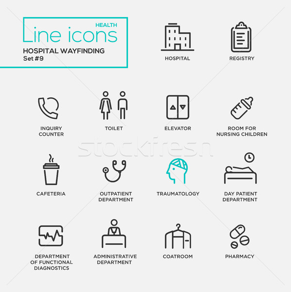 Hospital wayfindings - line design pictograms set Stock photo © Decorwithme
