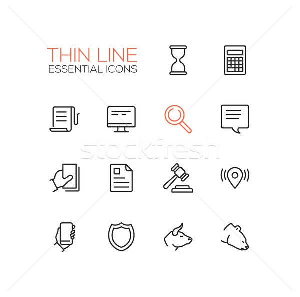 Business, Finance, Law Symbols - thick line design icons set Stock photo © Decorwithme
