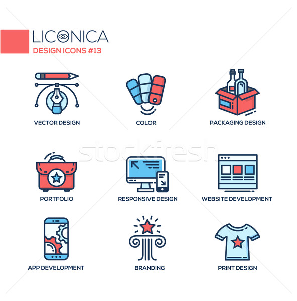 Designing - thin line design icons, pictograms Stock photo © Decorwithme