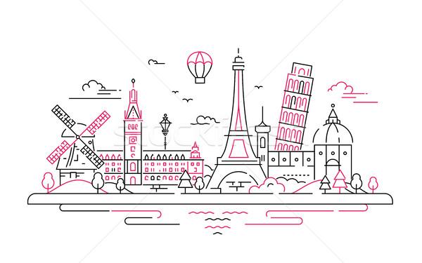 Európai terv híres épület világ építészet Stock fotó © Decorwithme