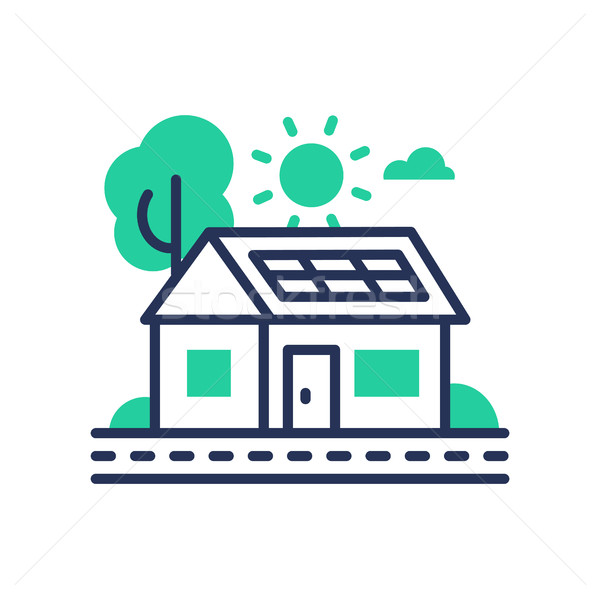 Eco House - modern vector single line icon Stock photo © Decorwithme