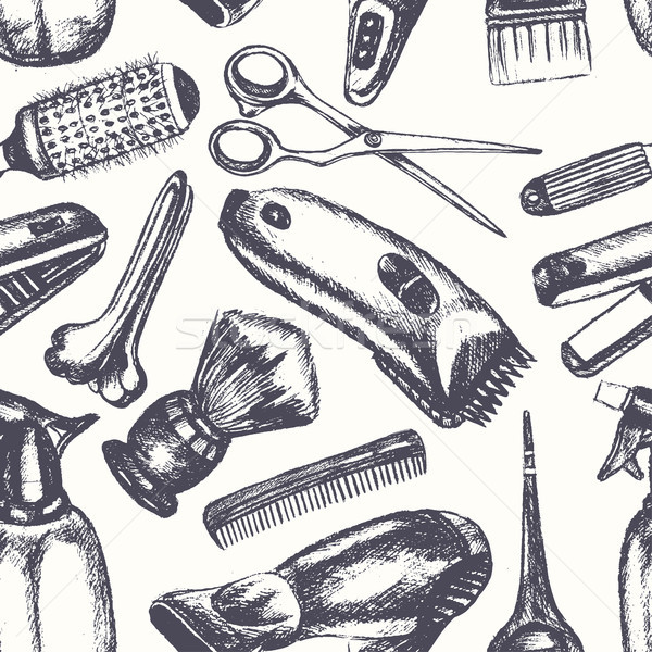 Barber Equipment - hand drawn seamless pattern Stock photo © Decorwithme