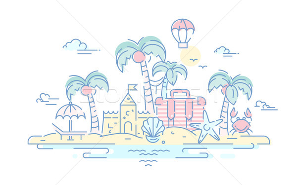 At the Seaside - vector line travel illustration Stock photo © Decorwithme
