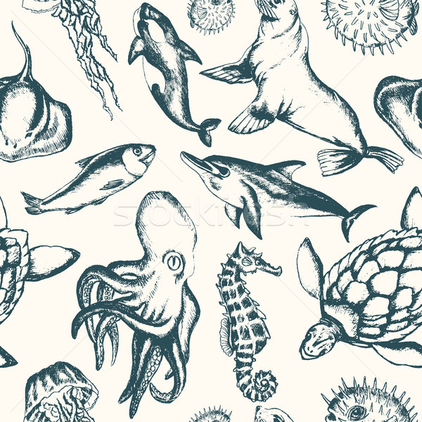 Sea Creatures - hand drawn seamless pattern Stock photo © Decorwithme