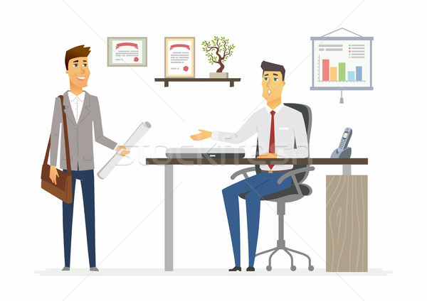 Office Day - modern vector cartoon business characters illustration Stock photo © Decorwithme