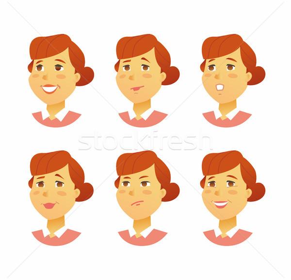Feminino expressões faciais moderno vetor negócio desenho animado Foto stock © Decorwithme