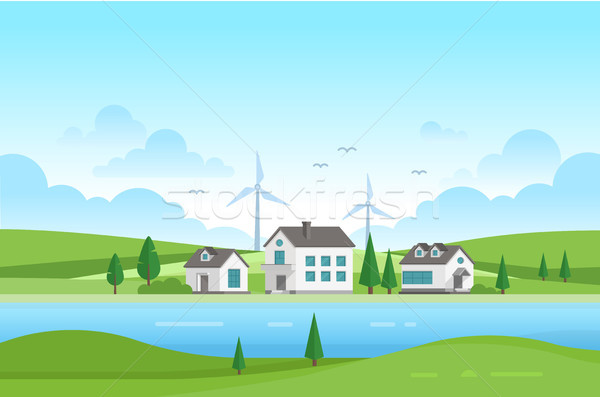 Stock photo: Housing estate with windmills by the river - modern vector illustration