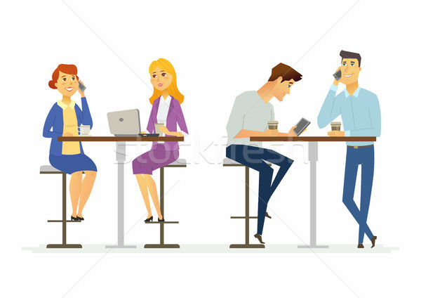 Collegues on a lunch break - modern cartoon people characters illustration Stock photo © Decorwithme