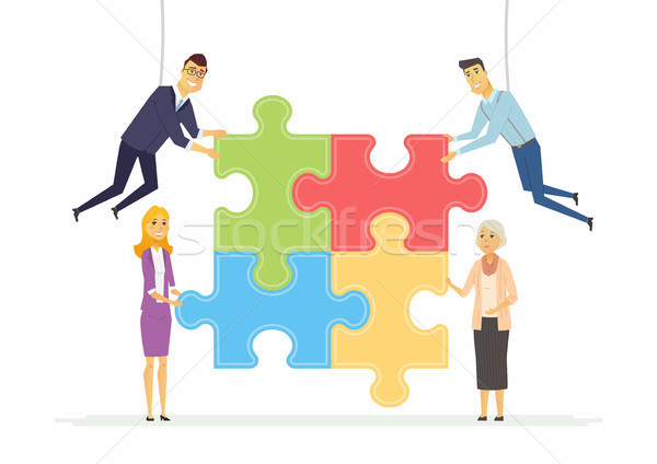 Team building in a company - modern cartoon people characters illustration Stock photo © Decorwithme