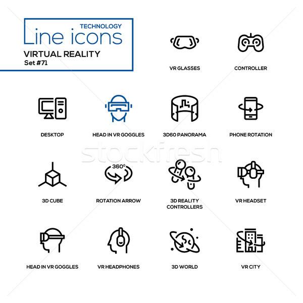 Virtuális valóság vonal terv ikon szett magas Stock fotó © Decorwithme