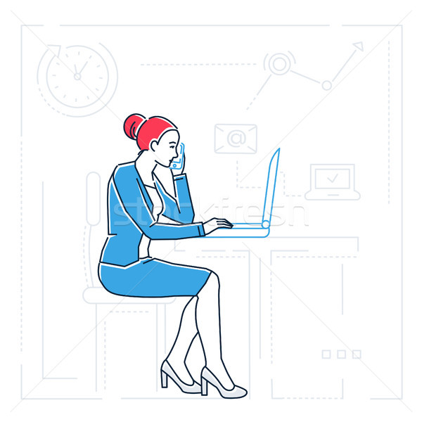 Businesswoman at the computer - line design style isolated illustration Stock photo © Decorwithme