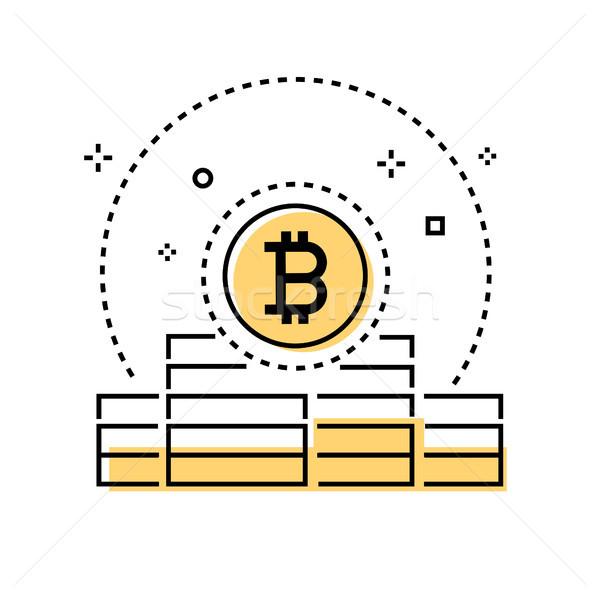 Bitcoin negocios colorido línea diseno estilo Foto stock © Decorwithme
