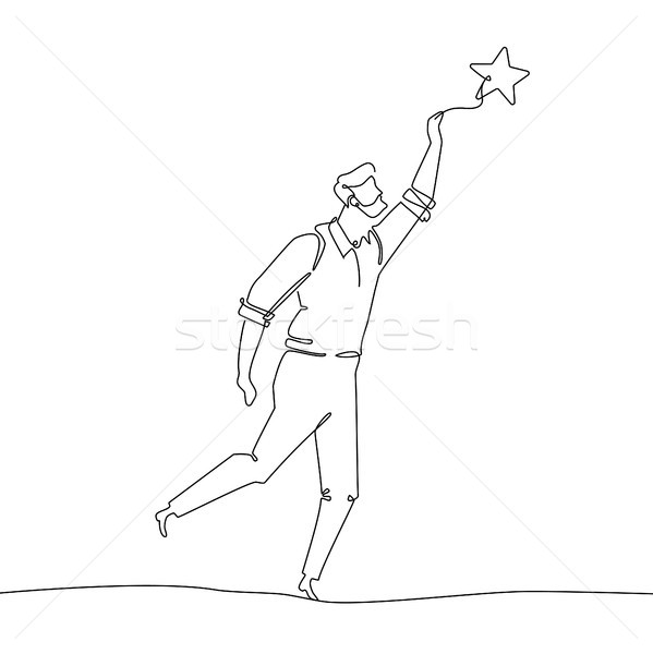 Businessman touching the star - one line design style illustration Stock photo © Decorwithme
