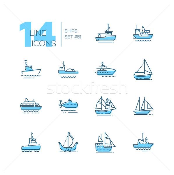 Water vervoer dun lijn ontwerp Stockfoto © Decorwithme