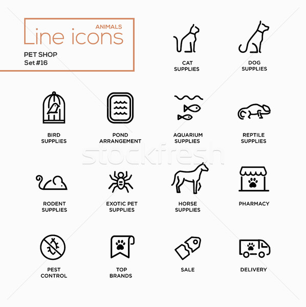 Pet Shop - Single Line Pictograms Set Stock photo © Decorwithme