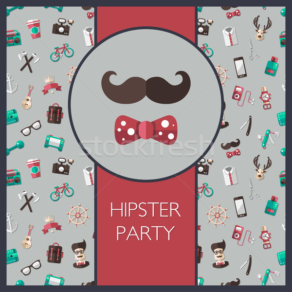 Postcard of modern flat design hipster icons Stock photo © Decorwithme