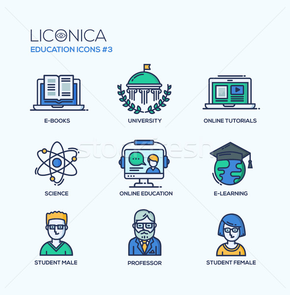 Modern school and education thin line design icons, pictograms Stock photo © Decorwithme
