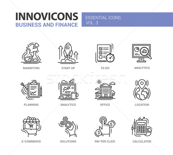 Modern office and business line flat design icons, pictograms set Stock photo © Decorwithme