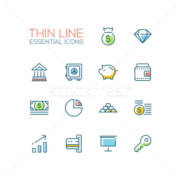 Business, Finance, Symbols - thick line design icons set Stock photo © Decorwithme