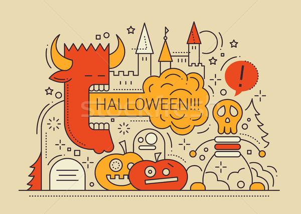 Stock fotó: Halloween · vonal · terv · kártya · buli · színes