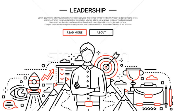 Leadership line flat design website banner Stock photo © Decorwithme