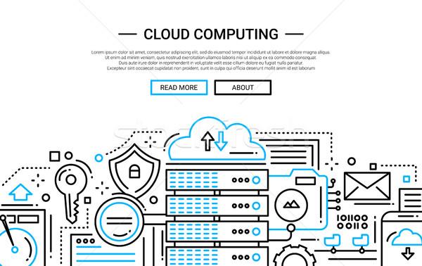 Cloud Computing - line design website banner Stock photo © Decorwithme
