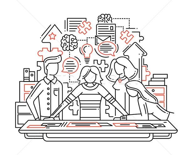 Creative process - line design illustrationn Stock photo © Decorwithme