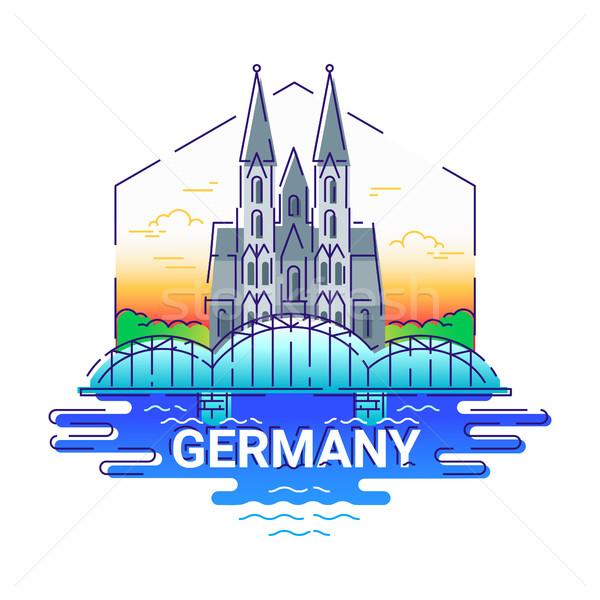 Alemanha moderno vetor linha viajar ilustração Foto stock © Decorwithme