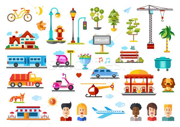 Városi tárgyak vektor ikon gyűjtemény infografika elemek Stock fotó © Decorwithme