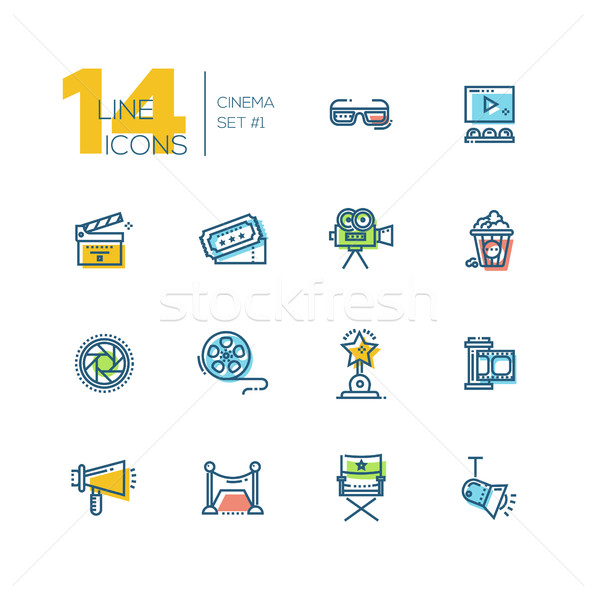 Cinema and movie thick line icons set Stock photo © Decorwithme