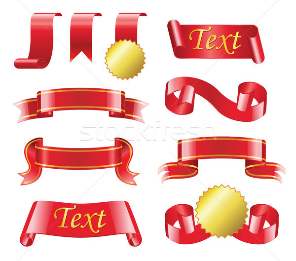 Award Ribbon - realistic vector set of red bands Stock photo © Decorwithme