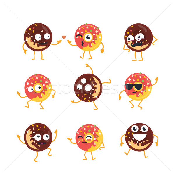 Donuts - vector set of mascot illustrations. Stock photo © Decorwithme