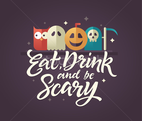 Comer beber assustador halloween cartão caligrafia Foto stock © Decorwithme