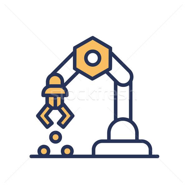 Mechanical Hand - vector line design single icon. Stock photo © Decorwithme