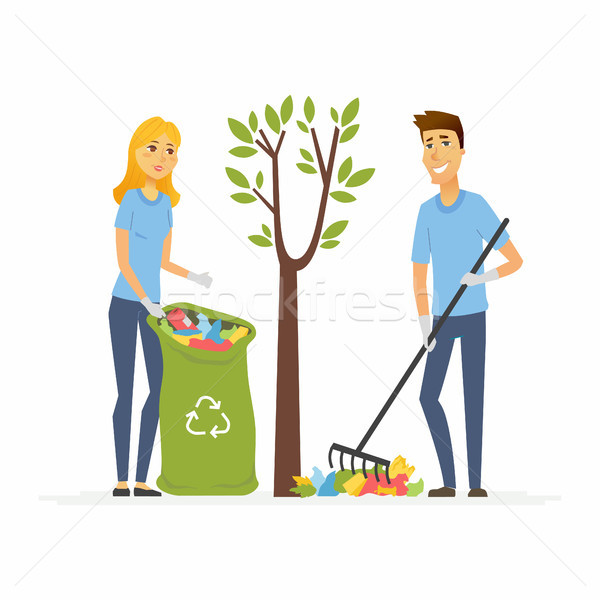 Volunteers collect garbage - cartoon people characters isolated illustration Stock photo © Decorwithme