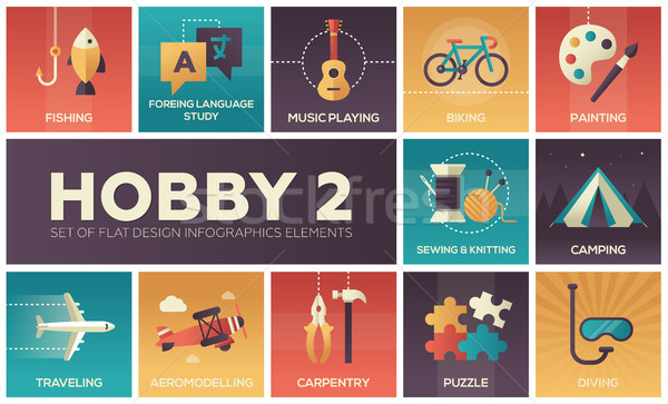 Hobby - set of flat design infographics elements Stock photo © Decorwithme