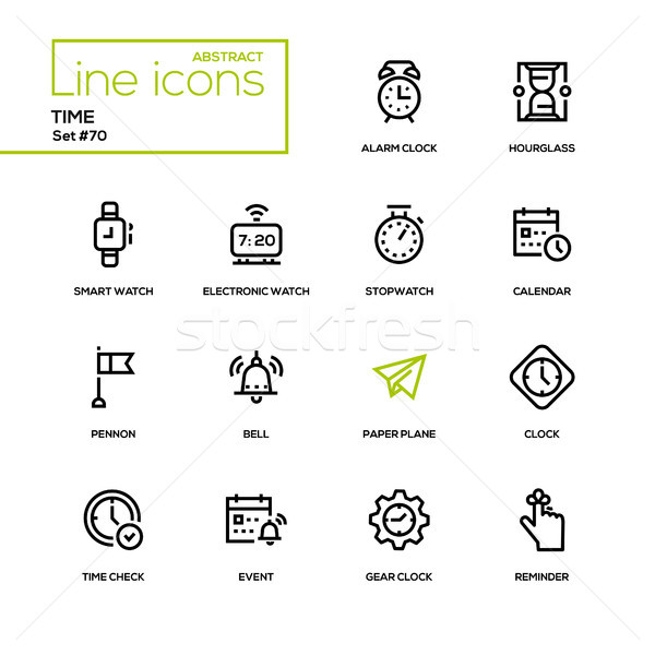Time concept - line design icons set Stock photo © Decorwithme