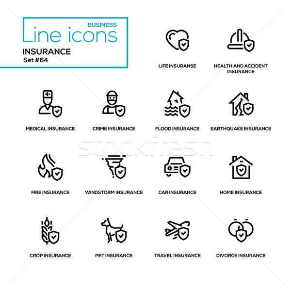 Insurance concept - line design icons set Stock photo © Decorwithme