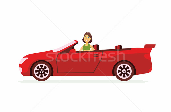 Young woman driving a car - cartoon people character isolated illustration Stock photo © Decorwithme