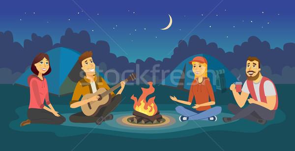Barátok tábor rajzolt emberek karakter illusztráció izolált Stock fotó © Decorwithme