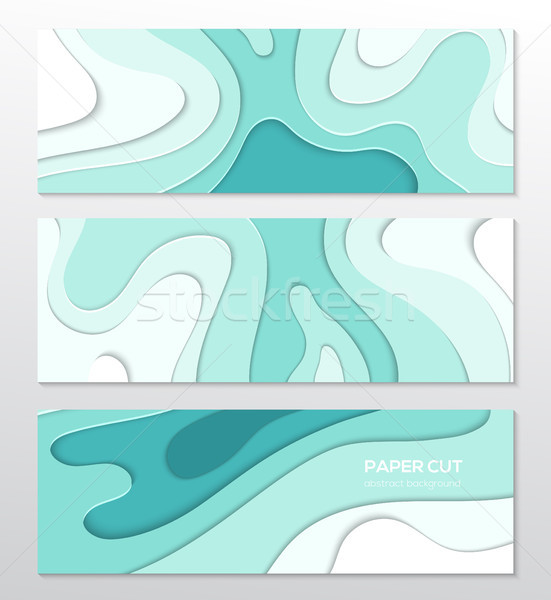 Blauw abstract lay-out ingesteld papier gesneden Stockfoto © Decorwithme