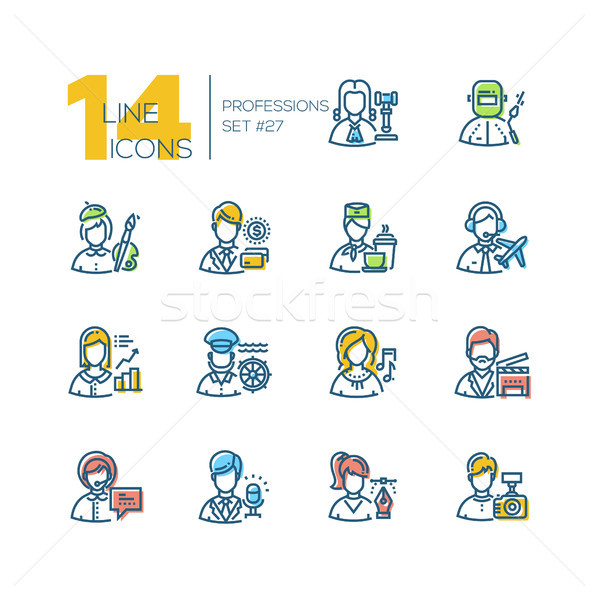 Stock photo: Professions - set of line design style icons