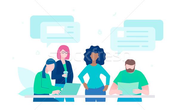 Live chat - flat design style illustration Stock photo © Decorwithme