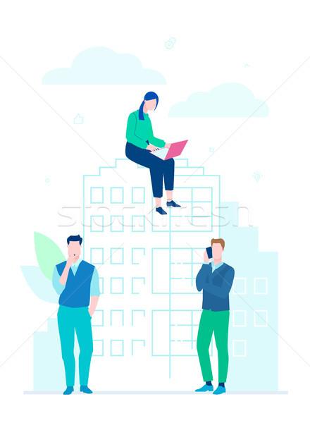 Negócio cooperação projeto estilo ilustração branco Foto stock © Decorwithme