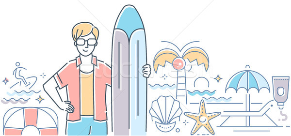 Surfing - modern colorful line design style illustration Stock photo © Decorwithme