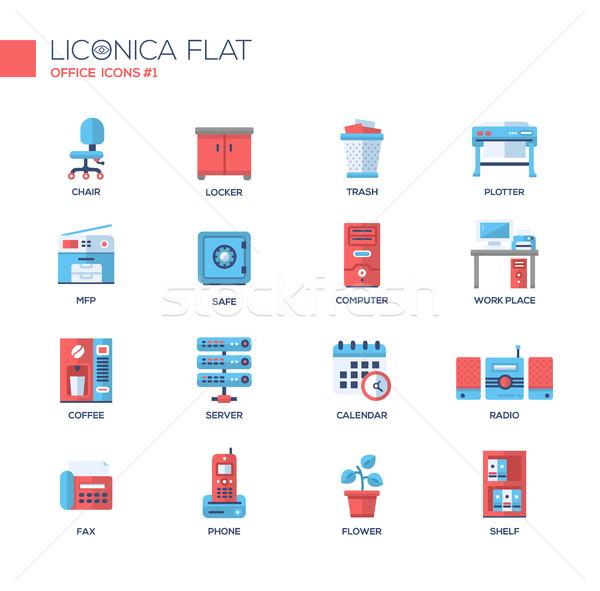 Establecer moderna oficina línea diseno iconos Foto stock © Decorwithme
