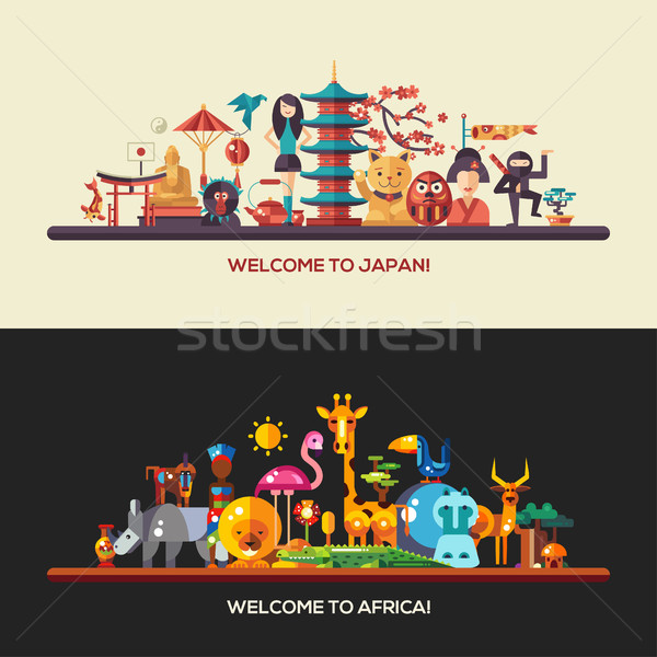 Ontwerp afrika Japan reizen banners ingesteld Stockfoto © Decorwithme